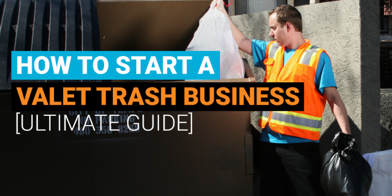 valet trash employee putting trash bags into dumpster
