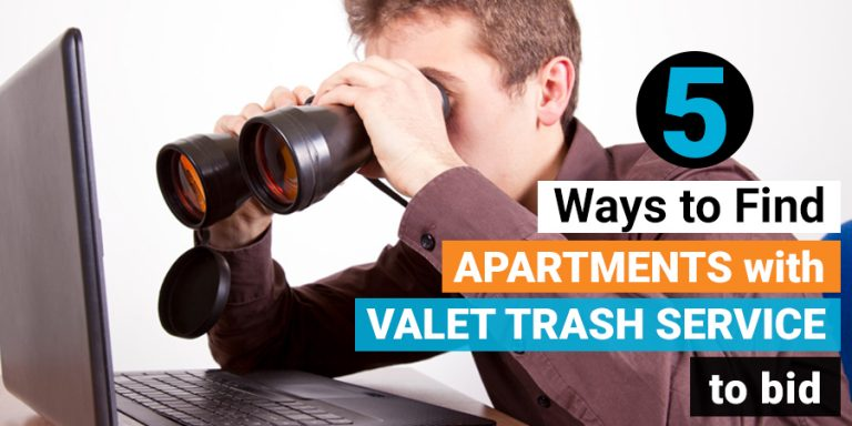 man searching for apartments with valet trash service online